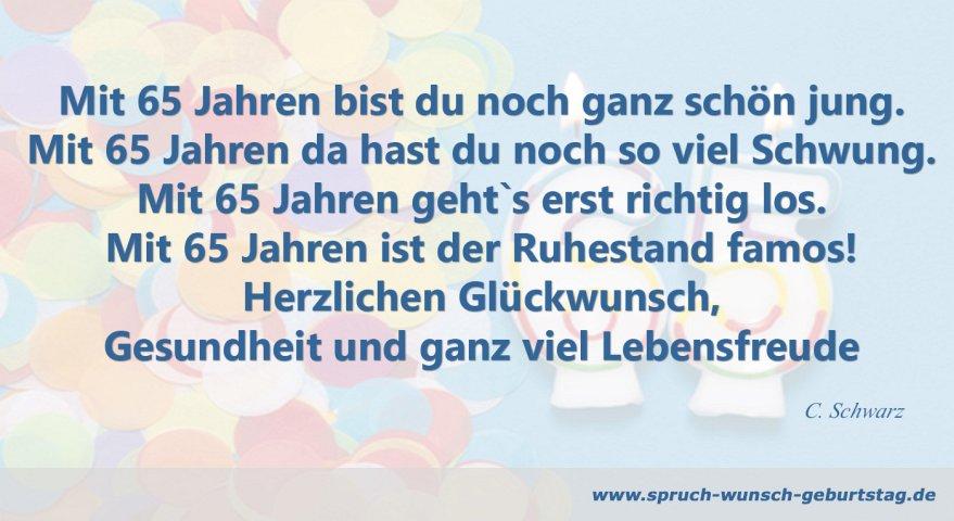 Zum 65 Geburtstag Gluckwunsche Gedichte Spruche